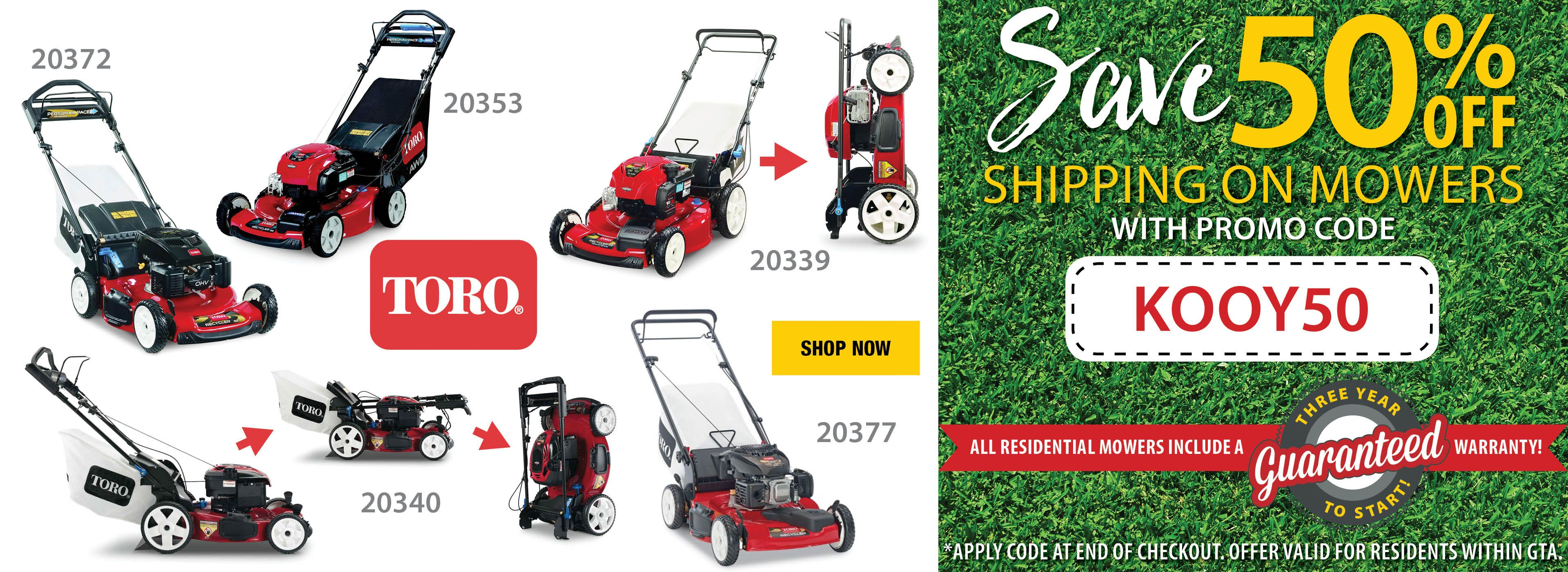 50% Off Shipping on lawnmowers with Promo Code within the GTA