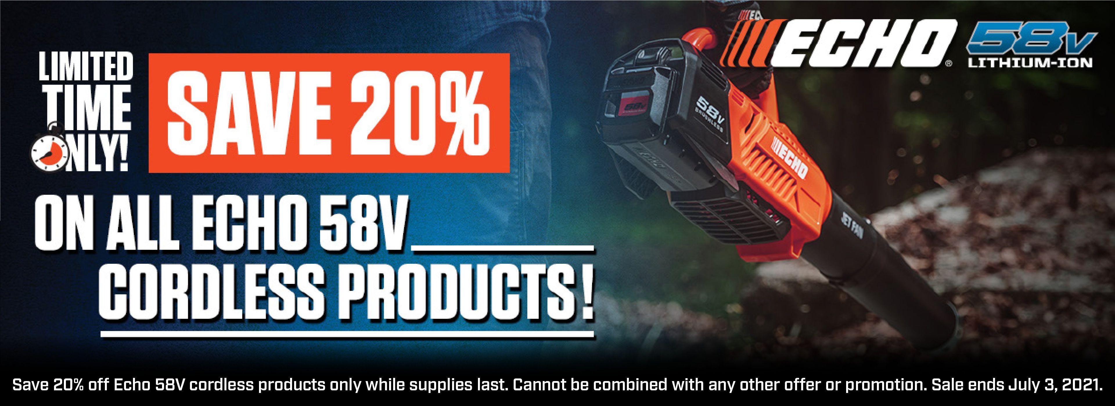ECHO 58V Battery Equipment Sale