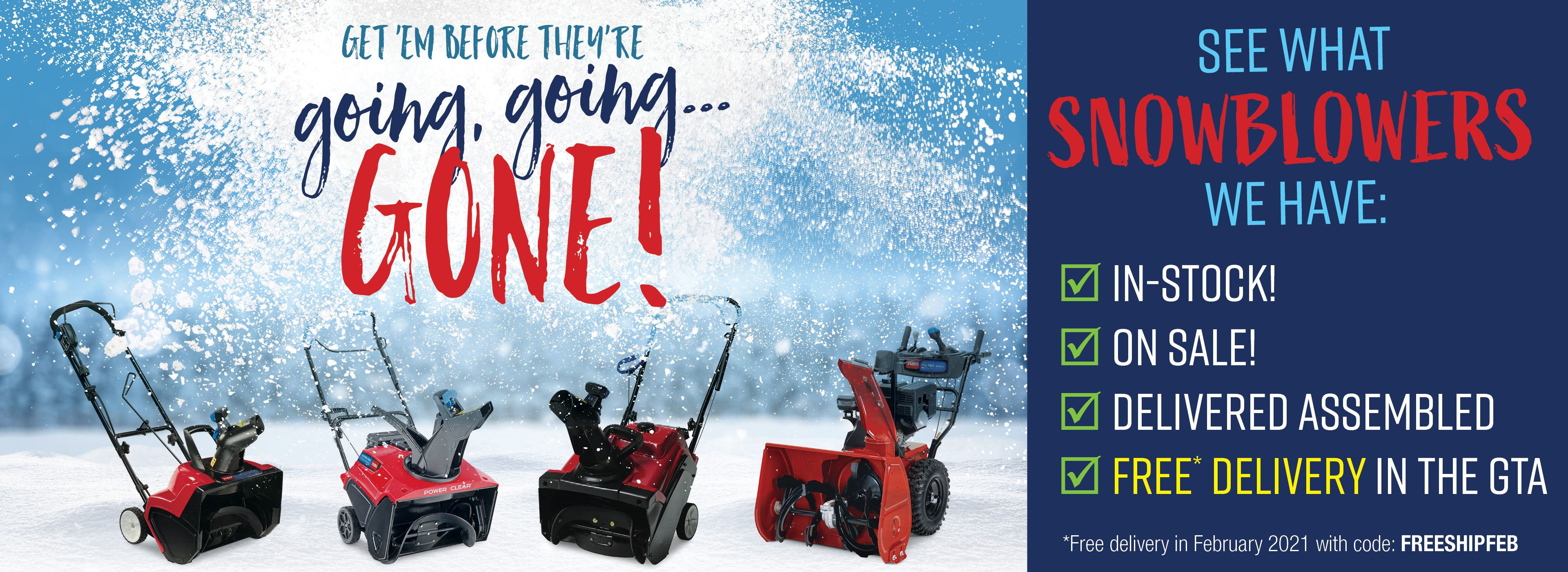 FREE SNOWBLOWER SHIPPING IN THE GTA